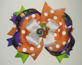 Halloween Candy Stacked Ribbon Bow