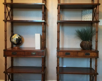 Vintage Brandt Faux Bamboo Bookcases
