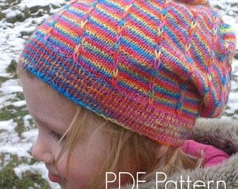 Banded Loom Hat PDF Knitting Pattern