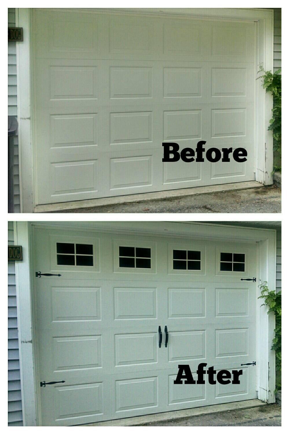 Faux fake garage door windows custom carriage house window for Faux garage door