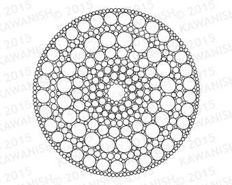 Circles Mandala Adult Coloring Page Gift Wall Art Meditation Zen