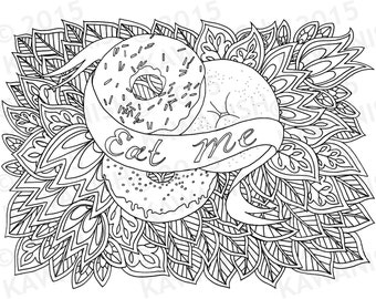 Eat Me Donuts Doughnuts Adult Coloring Page Gift Wall Art