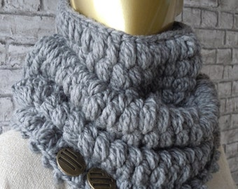 CLEARANCE/Grey Crothet Chunky Cowl Scarf, Winter Scarf, Women and men Scarf, gift ideas, accessories, christmas gift