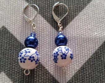 Sale - Blue Floral Dangle Earrings