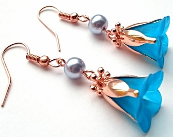 Flower Earrings Blue and Rose Gold