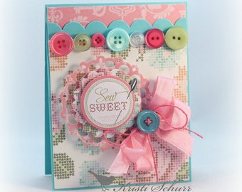 Any Occasion Card Sew Sweet Sewing Themed Handmade Greeting Card Birthday, Thank You, Thinking Of You, Friendship Card for Mom, Seamstress