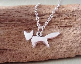 Fox Necklace - Silver Fox Charm Pendant - Fox Profile - Fox Silhouette