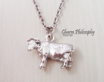 Cow Necklace - Silver Cow Charm Necklace - Antique Silver Pewter Jewelry
