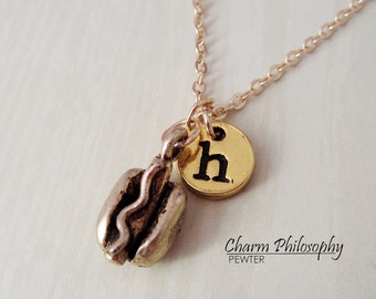 Gold Hot Dog Necklace - Hot Dog Charm - Initial Necklace - Antique Gold Pewter Jewelry