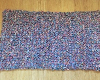 Large rectangle tunisian crochet rag rug made from an upcycled duvet cover
