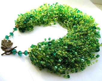 Emerald green seed bead necklace – green beaded necklace with cat eye – airy multi strand seed bead necklace