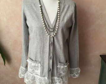 Chic from Shabby Cardigan, Lace Cardigan, Lace Sweater, Shabby Cottage Chic, Grey Sz Small 4-6
