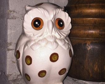 Vintage ARDCO Spotted White Owl Planter
