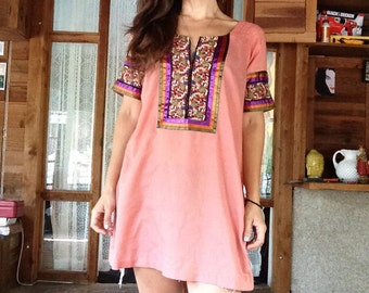 SALE - Embroidered Tunic Top Pink