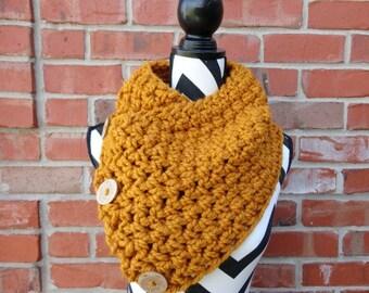3 Button Crochet Cowl Butterscotch