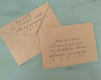 Calligraphy Wedding Invitation Addresses - Custom Handlettered Envelopes