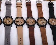 Wooden Watch Leather Strap Men's Watch
