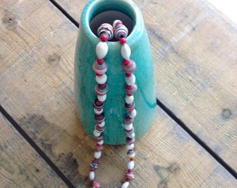 Recycled Paper Necklace in Dark Red