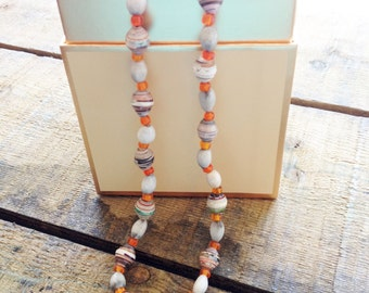 Recycled Paper Necklace in Orange