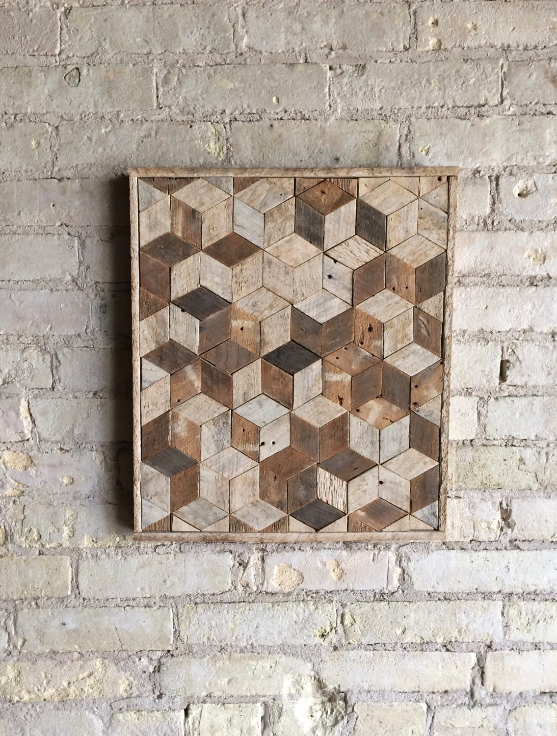 Reclaimed wood wall art decor pattern lath 3d cube for Wood wall art