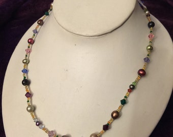 "20"" multicolor pearls and gemstones necklaces"