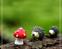 3pcs Set Hedgehog Mushroom,Fairy Garden Animals, Miniature Figurines, Mini Decoration, Terrarium Accessories,Garden Décor