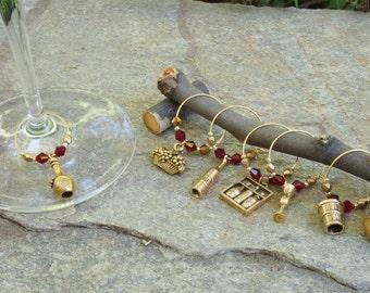 6-piece Wine Glass Charm Set - Vineyard Theme