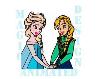 Anna and Elsa Frozen Machine Embroidery Design in 4 sizes ---Instant download---