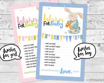 Baby Shower Wishes for Baby - Printable / Download