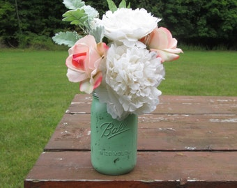 Peony and Rose Arrangement in Hand-Painted Mason Jar