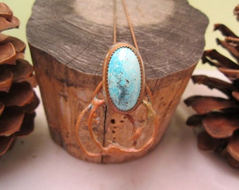 Turquoise and Copper pendant necklace