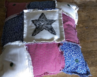 Americana rag quilted pillow