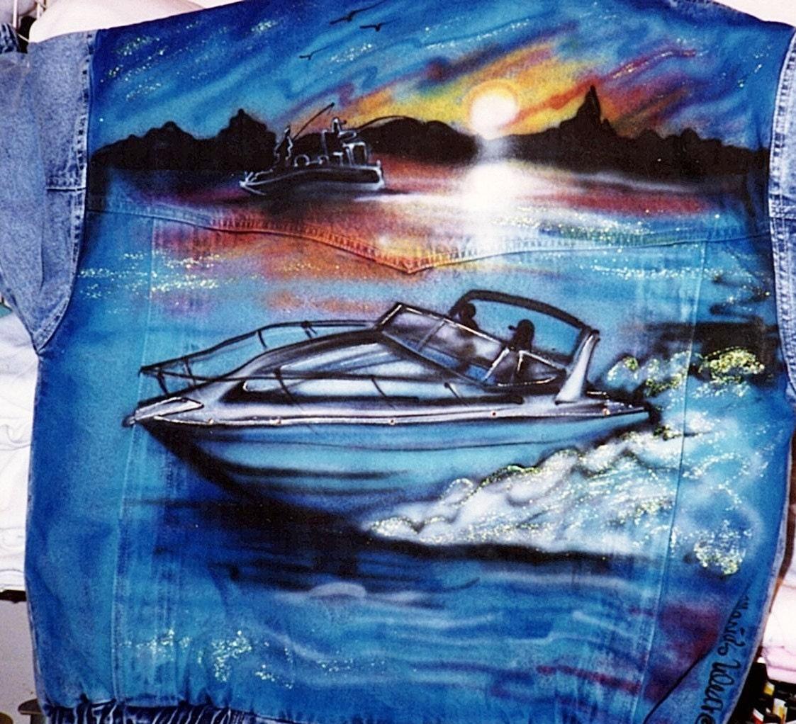 Airbrush Jean Jacket Boat In Water Speed Boat Art