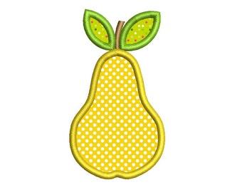 Pear Applique Machine Embroidery Design 018