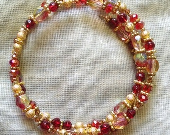 Scarlet and Vermillion Coil Bracelet