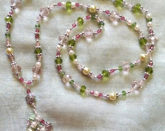 Pink, Green, and Silver Rosette Necklace