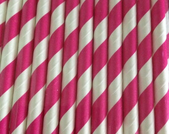 Bright Pink Stripe Paper Straw (pack of 25)