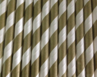 White and Gold Stripe Paper Straw (pack of 25)
