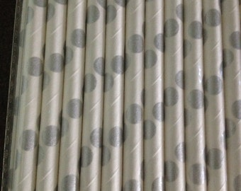 White and Silver Spots Paper Straws (pack of 25)