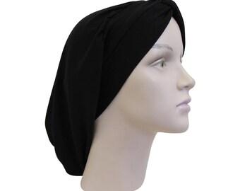 Classic Turban Black Hair Snood Headcovering Solid Black Womens Modest Turban Headscarf Women's Tichel Head Covering Knot Turban