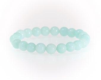 Aquamarine semi precious 6mm gemstone bracelet