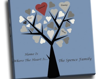 Personalised Family Tree Canvas Print Handmade & Ready To Hang