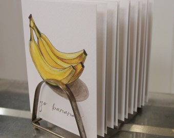 """Produce Print """"Go Bananas"""": Artisan Watercolor and Hand Lettered Note Card"""