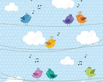 Little Birds singing songs clipart - digital printable PNG images