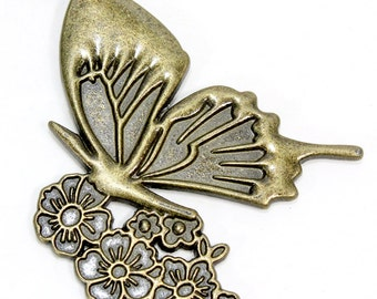 Bronze Butterfly with Flower Pendant. Large Metal Insect Pendant. Metal Butterfly Pendant. Gold Butterfly Jewelry. Metal Pendant 50mm x 40
