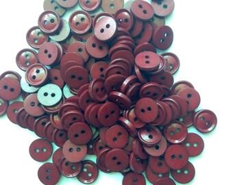 Vintage Dark Red Buttons Small Buttons Destash Buttons Lot Wholesale Bordeaux Buttons