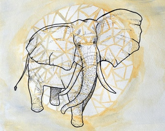 Elephant Illustration Print