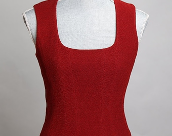 Karl Lagerfeld Sleeveless Dark Red Button Back Top