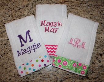 Set of 3 Custom Embroidered Burp Cloths