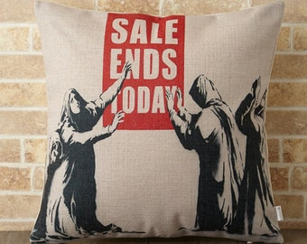 Banksy Cushion Pillow cover case made of Linen Handmade Sale ends today (BA027)